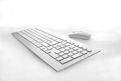 CHERRY DW 8000 Keyboard RF Wireless QWERTZ German Silver, White - (DEU Layout - QWERTZ)