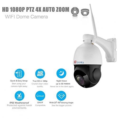 (PTZ 1080P) Ctronics drahtlose PTZ IP Dome Kamera, Wlan outdoor überwachungskamera, optischem 4-fach Zoomobjektiv, 50m IR-Nachtsich, Zweiwege-Audio, mit vorinstallierter 16GB SD-Karte