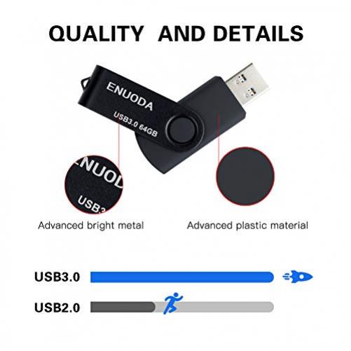 2 Stück 64GB USB Stick ENUODA Speicherstick Rotate Metall Mehrfarbig High Speed USB 3.0 Flash Drive Pack (Rot,Schwarz)