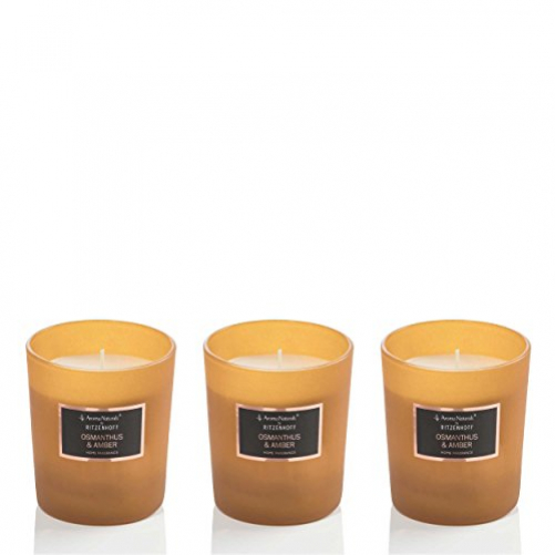 RITZENHOFF Aroma Naturals Selection Set of 3 candles, osmanthus & amber, in gift box
