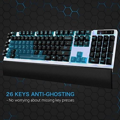 [7LED backlits 10Millionen Clicks] Gaming Tastatur VicTsing programmierbar Mechanische Feel Gaming Tastatur mit programmierbare Tasten und Multimedia Funktion Schlüssel für Gamer & typists