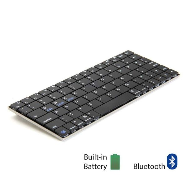 GMYLE Aluminum Ultra-Slim 8.5 Inch Wireless Bluetooth Keyboard for iOS Android Windows w/ Built in Rechargeable Battery (USA Layout - QWERTY)