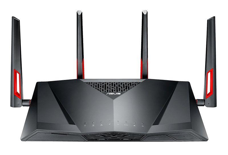 ASUS DSL-AC88U WLAN-Router Dual-Band (2,4 GHz/5 GHz) Gigabit Ethernet Schwarz, Rot