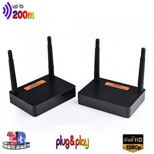 Measy FHD676 2.4/5.8GHz Wireless HD Extender Set 200M für HDMI AV Empfänger und Sender, 100m 3D Digitale Übertragung Full-HD 1080p Extender mit IR Fernbedienung und HDMI Kabel (Schwarz)