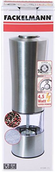 Fackelmann Electric salt-/pepper mill, spice mill with ceramic grinding mechanism, spice shaker for grinding all spices (color: silver/transparent/black), quantity: 1 piece