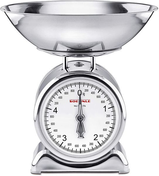 Soehnle analog kitchen scale Silvia in stainless steel with removable weighing pan, household scale with large full view scale, kitchen scale analog with 5 kg capacity