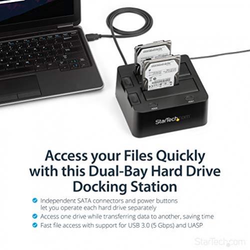 StarTech.com 2-fach USB 3.0 Festplatten Dockingstation mit UASP für 2,5/3,5 Zoll SSD / HDD, Serial-ATA USB Dual Bay Dockingstation