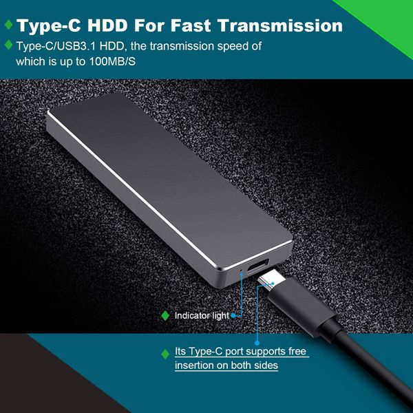 Proking Disco Duro Externo Portátil 1TB, Type C USB3.1 SATA HDD Almacenamiento para PC, Mac, Desktop, Laptop, MacBook, Chromebook, Xbox (1TB, Black)