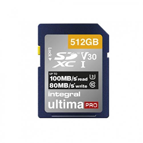 Integral 512GB SD Card Premium 4K High Speed Memory SDXC up to 100MB/s V30 UHS-I U3