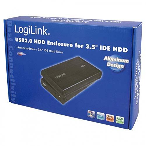 LogiLink case 8,9 cm (3,5 inch) IDE HDD USB 2.0 Alu