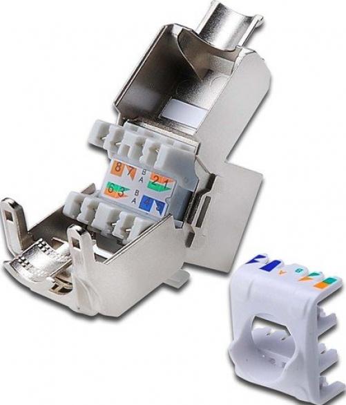 Digitus CAT6A Keystone Jack, geschirmt,Re-embedded 500 MHz gem. ISO/IEC 11801:2002 AM2:2009/09, werkzeugf. Montage, Set 24 Stk