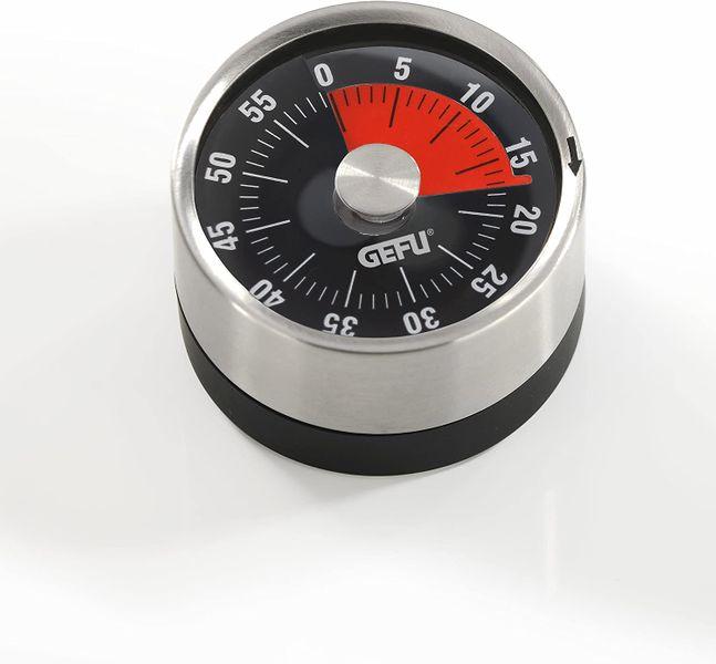 GEFU OPTICO mechanical kitchen timer black, stainless steel