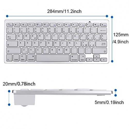 Jclivetek Kabellose Bluetooth-3.0-Tastatur für Apple iPhone iPad iPod Touch mit iOS-System auch für Tablets Smartphones und Notebooks mit Bluetooth-Funktion und iOS-System geeignet ultra dünn wird mit 2 AAA-Batterien (ITA Layout - QWERTY)