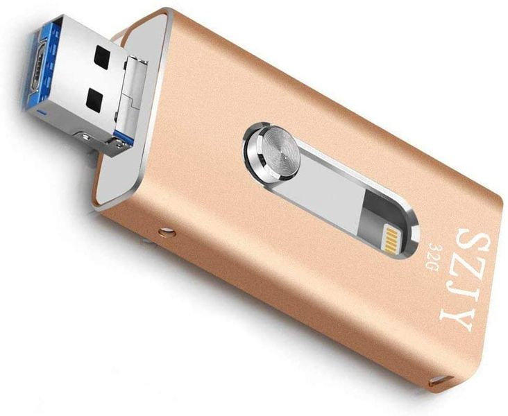 32GB USB iPhone Flash Drive - USB, Micr USB and Lightning connector(3 in 1) for iPhone iPad IOS Andriod and PC- (Gold)