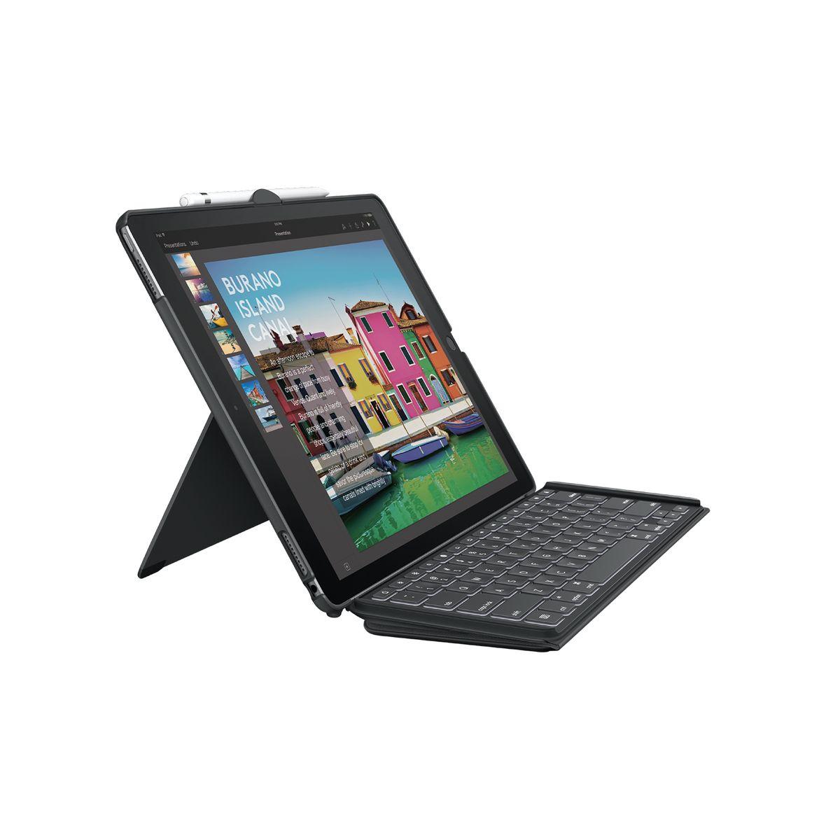 logitech SLIM COMBO Tastatur für Mobilgeräte Schwarz Smart Connector (GBR Layout - QWERTY)