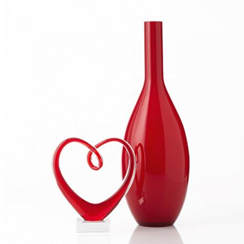 LEONARDO Heart Decorative Statue & Figure Red Glass