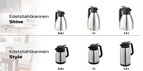 Leifheit Shine 0, 6 L vacuum jug, 100% tight, thermos jug with double-walled stainless steel insulating body, practical opening and closing with one hand, coffee pot, teapot, silver black