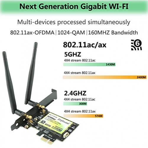 Ziyituod AX200 WiFi 6-Karte, AX2974Mbps Wireless-Adapter, 802.11ax PCIe WiFi-Karte mit Bluetooth5.0, Unterstützung für Windows 10 64-Bit, Chrome OS und Linux …
