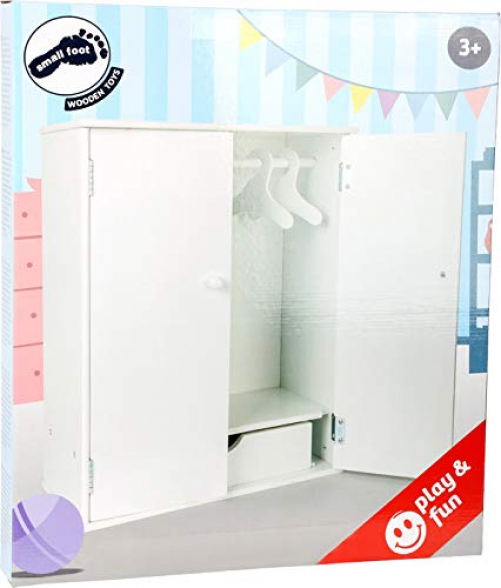 small foot 11213 Dolls wardrobe, white made of wood, with accessories like clothes rail and hanger, addition to dolls accessories