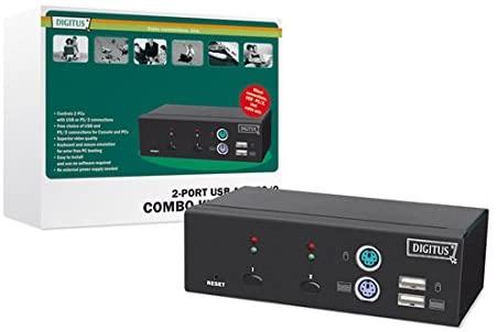 Digitus Combo KVM-Switch 1User, 2 PCs (je PS/2 od. USB), freie Verbindungswahl, Desktop, Hot-Swap Funktion, inkl. 2 Kabelsätze, 1,8 m
