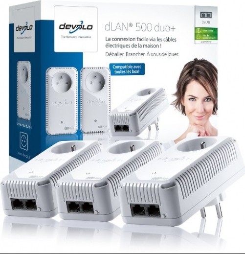 Devolo dLAN 500 Duo+ Network Kit Ethernet 500 Mbit/s - Netzwerkkarten (Verkabelt, Netzstecker, Ethernet, 500 Mbit/s, Weiß) Plug-Type E (FR)