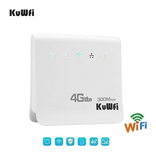 KuWFi WLAN Router, Unlocked 300Mbps 4G LTE CPE Mobile WiFi Wireless Router for SIM card slot with LAN port support Working with E-Plus/T-Mobile SIM card