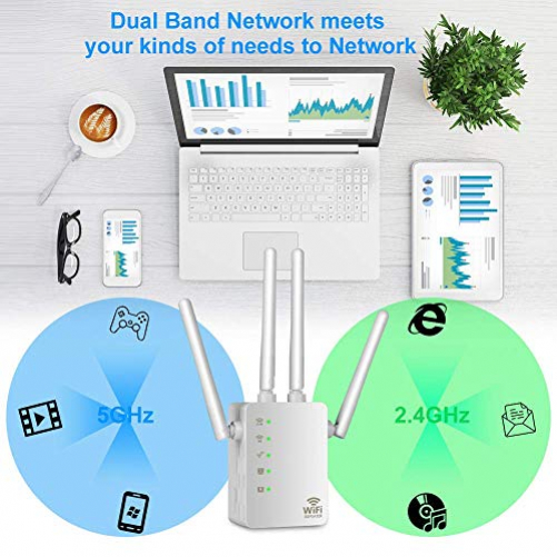 Aigital WiFi Repeater 1200 Mbps Wif Wireless Extender Signal Booster Access Point (AP) WiFi Range Extender Signal Booster Dual Band (2.4 GHz, 5 GHz) WPS Increasing the range WLAN
