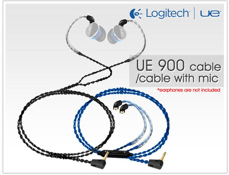 Logitech Cable w/ Mic Control for Ultimate Ears 900 UE900 Shure 535/846 SE215