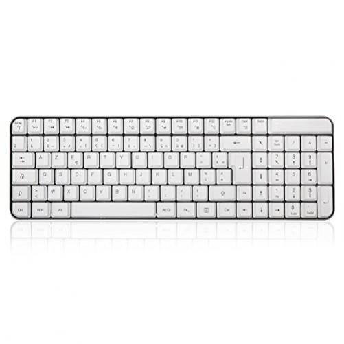 Leise kabellose Maus und Tastatur. weiß / grau (FRA Layout - AZERTY)