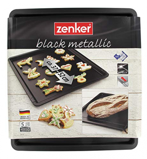 Zenker baking and cookie tray extendable BLACK METALLIC, baking tray made of sheet steel, rectangular oven tray with non-stick coating, adjustable baking tray (color: black), quantity: 1 piece