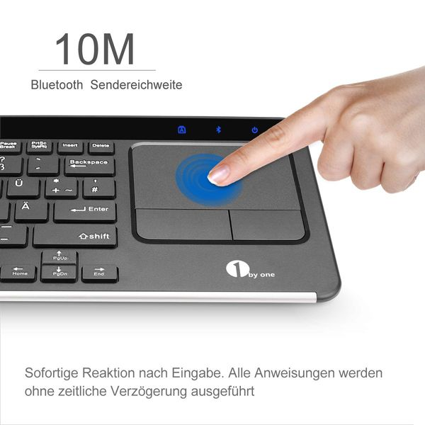 1byone Wireless Bluetooth Keyboard and Multi Touchpad (DEU Layout - QWERTZ)