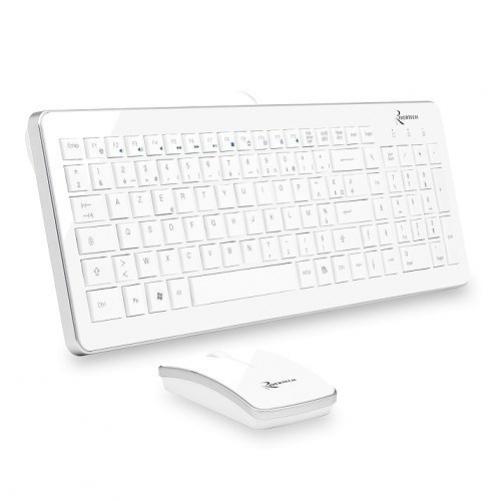 Klassische Rivertech Pack Wireless Keyboard + Maus Weiß (FRA Layout - AZERTY)