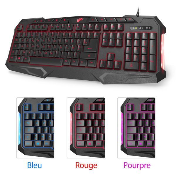 1byone Backlit Wired Gaming Keyboard Keys with Media Hot Keys and Relaxation Light Black (FRA Layout - AZERTY)