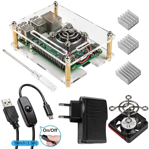 Smraza For Raspberry Pi 3 case with power supply + 3 x heat sinks + fan + USB cable with ON / OFF switch Compatible with Raspberry Pi 3b + case and 3 2 model b (Raspberry Pi board not included)